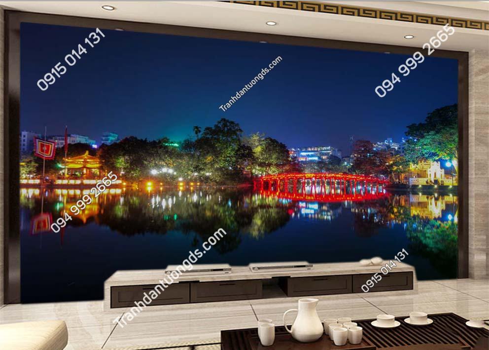 Tranh dán tường cầu Thê Húc Hà Nội về đêm -HNX61