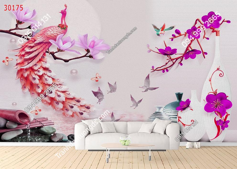 Tranh dán tường chim công hồng 30175
