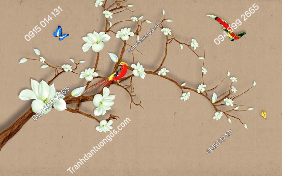Tranh dán tường chim đậu nhành hoa HHD822