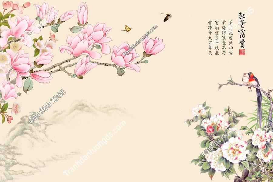 Tranh dán tường chim uyên ương thơ hoa HHD695