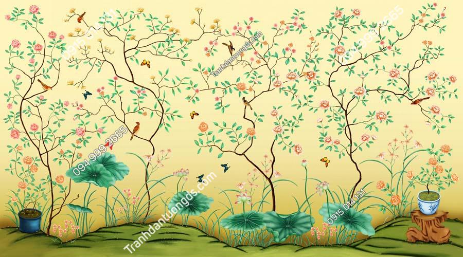 Tranh dán tường chim và hoa HHD524
