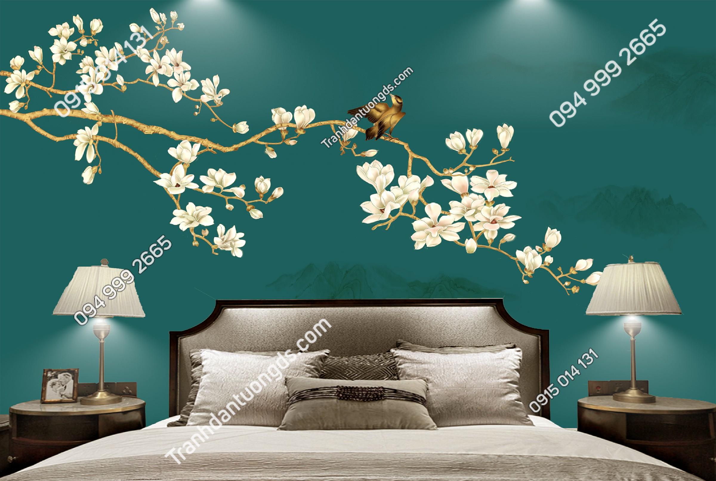 Tranh dán tường chim và hoa dán phòng ngủ - 11200 demo
