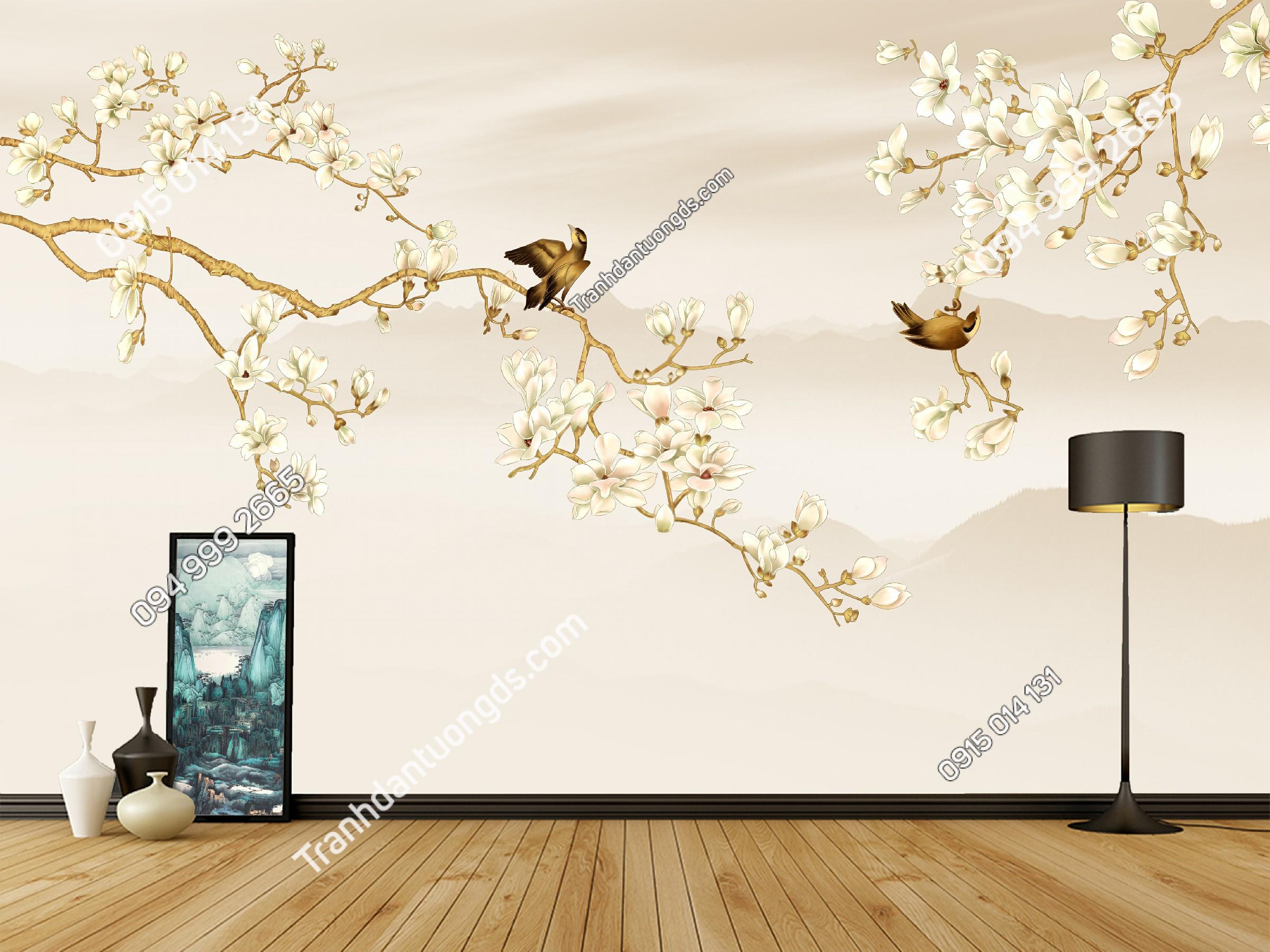 Tranh dán tường chim và hoa dán phòng ngủ - 11201 demo