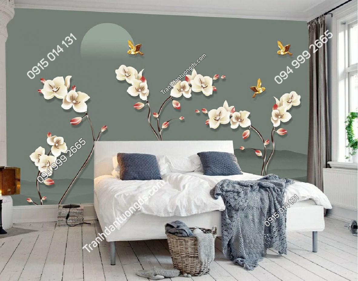 Tranh dán tường chim và hoa dán phòng ngủ - - 11272 demo