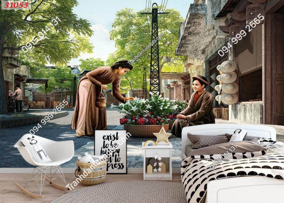 Tranh dán tường cô bán hoa Hà Nội xưa 31053
