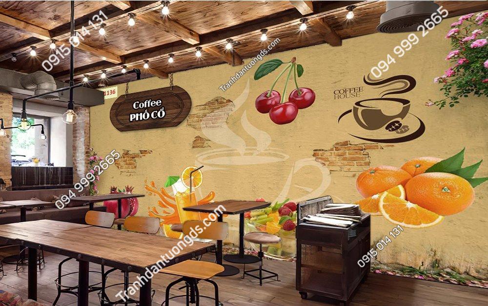 Tranh dán tường coffe phố cổ
