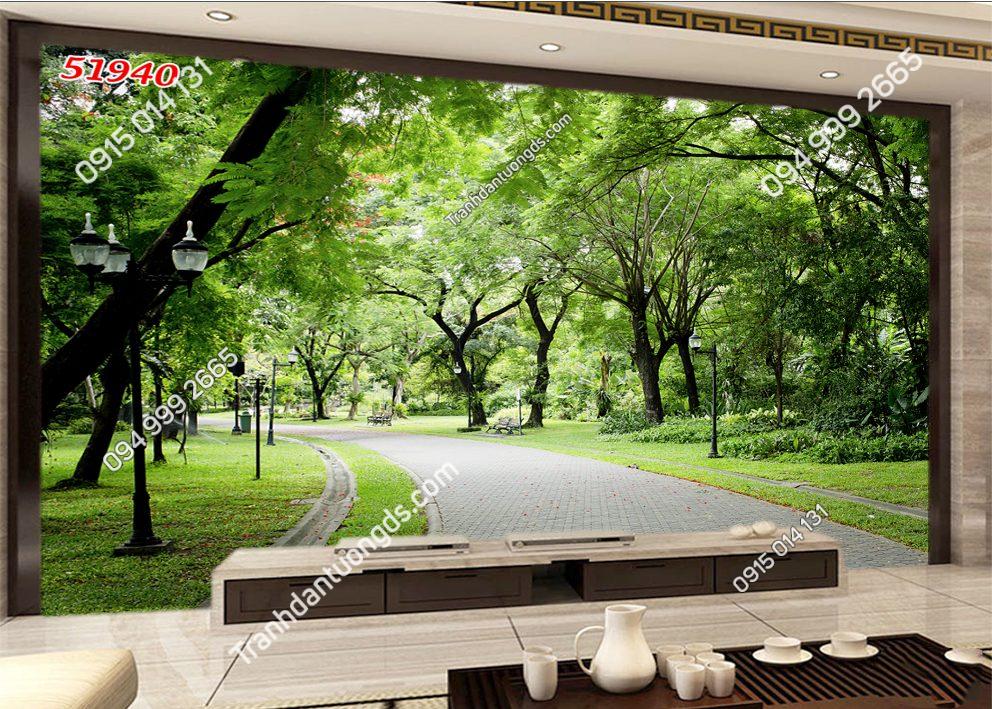 Tranh dán tường con đường cây xanh 51940