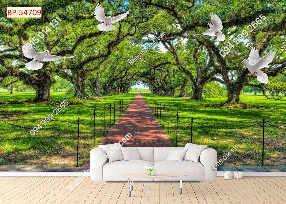 Tranh dán tường con đường cây xanh và chim 54709
