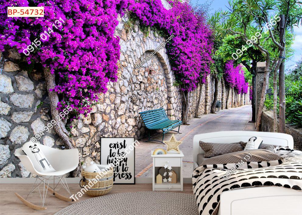 Tranh dán tường con đường đá hoa tím 54732
