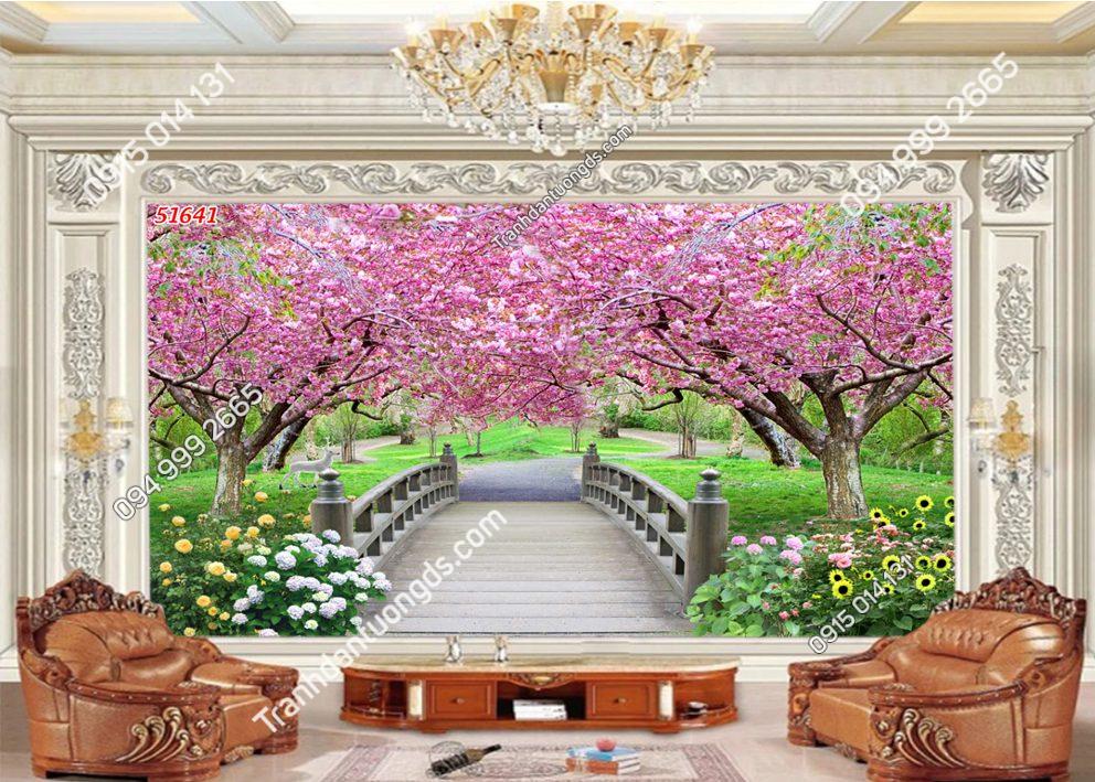 Tranh dán tường con đường hoa đào 51641
