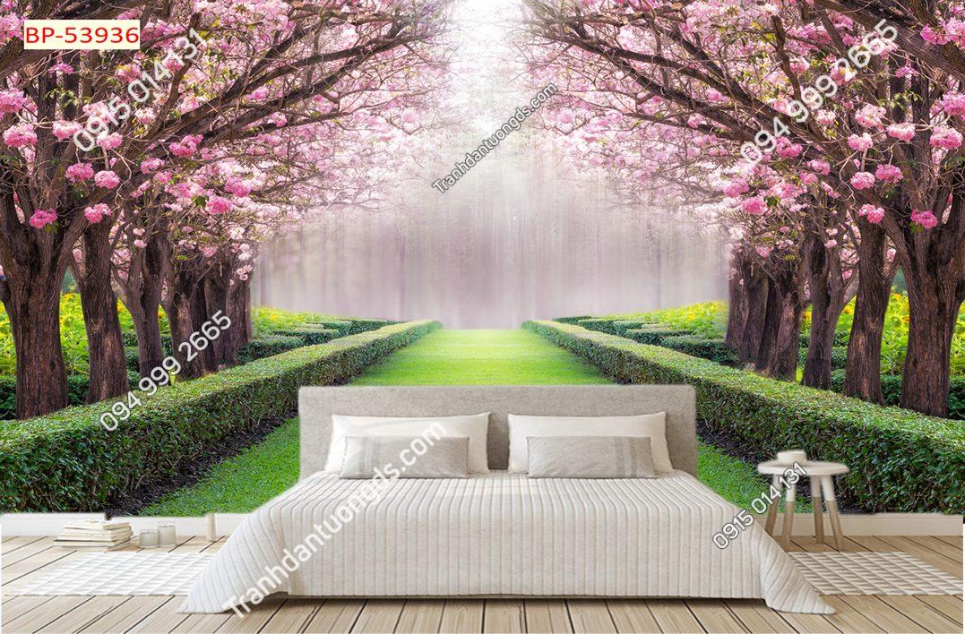 Tranh dán tường con đường hoa đào 53936