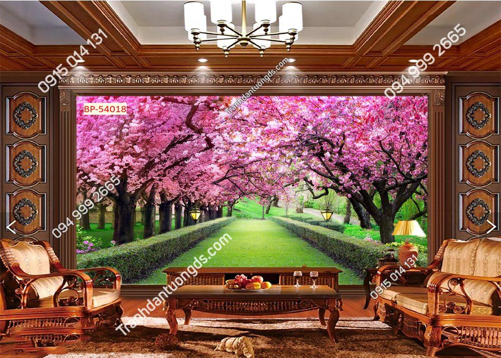 Tranh dán tường con đường hoa đào 54018