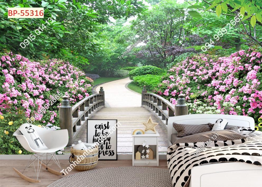 Tranh dán tường con đường hoa hồng 55316