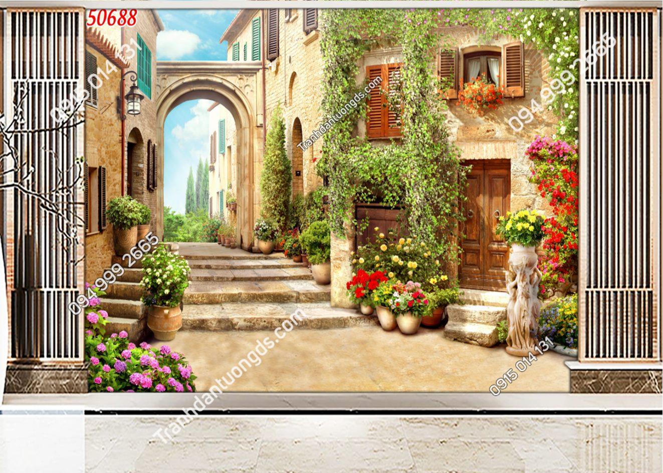 Tranh dán tường con đường hoa trong thành phố 50688
