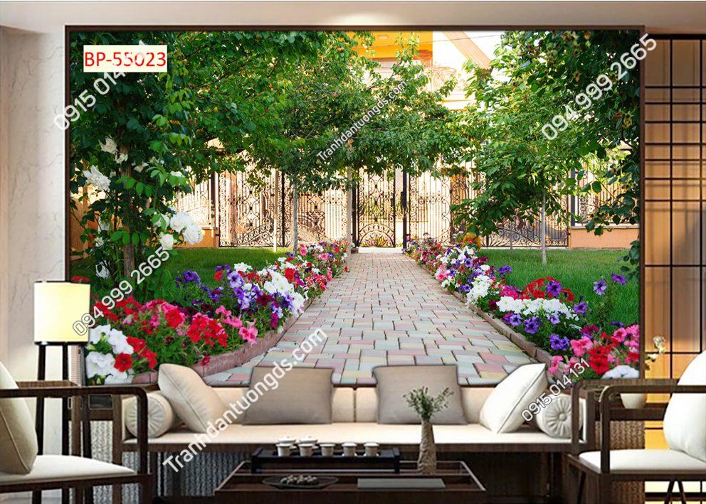 Tranh dán tường con đường hoa trong thành phố 55023