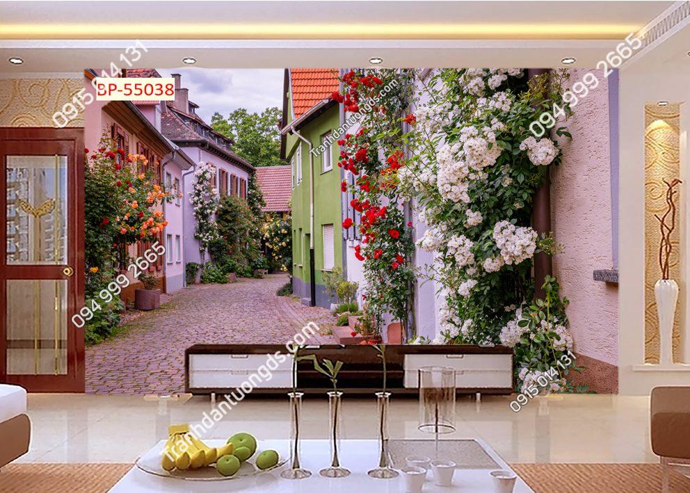 Tranh dán tường con đường hoa trong thành phố 55038