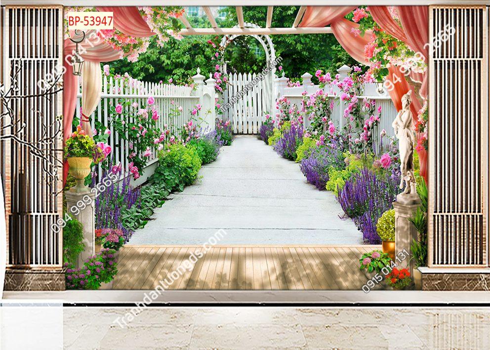 Tranh dán tường con đường hoa trước nhà 53947