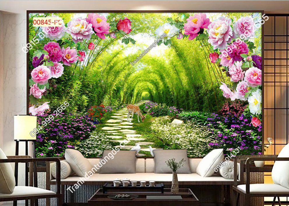 Tranh dán tường con đường hoa và tre 00845