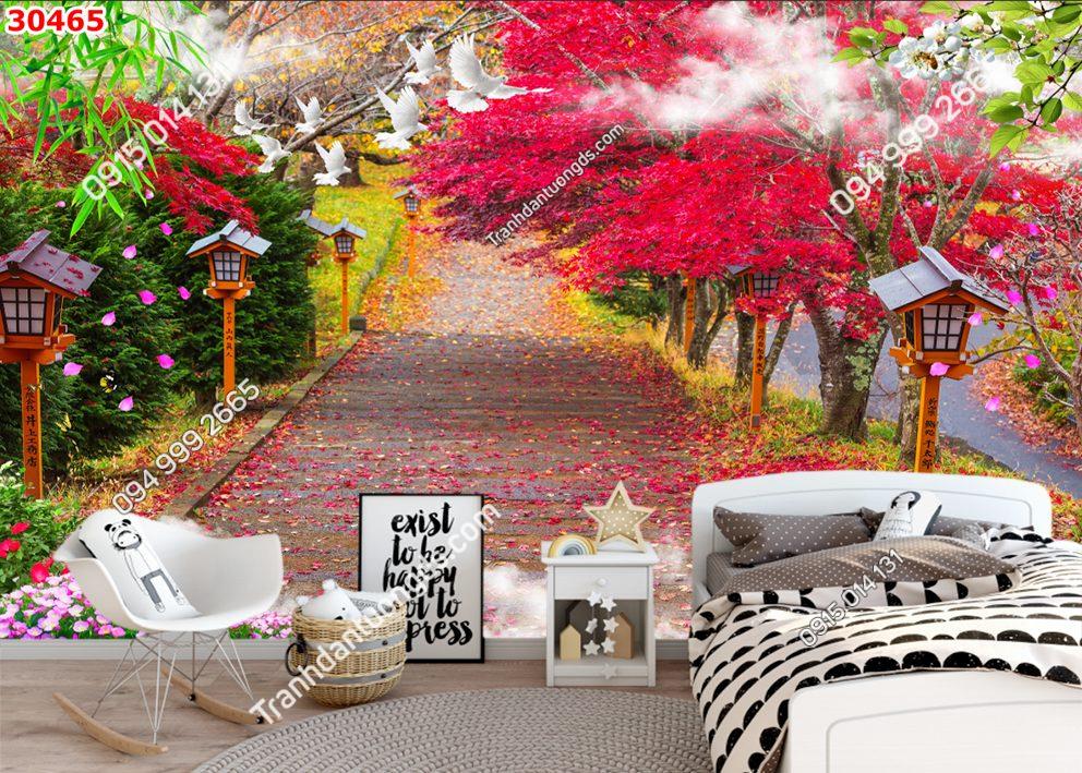 Tranh dán tường con đường lá đỏ 30465
