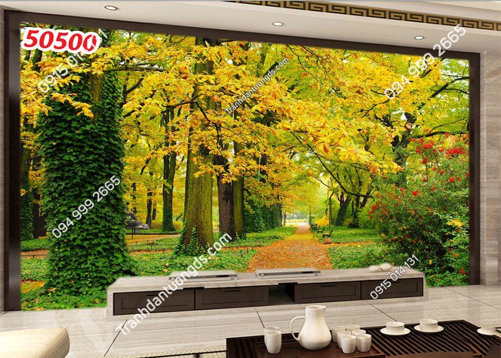 Tranh dán tường con đường lá vàng 50500