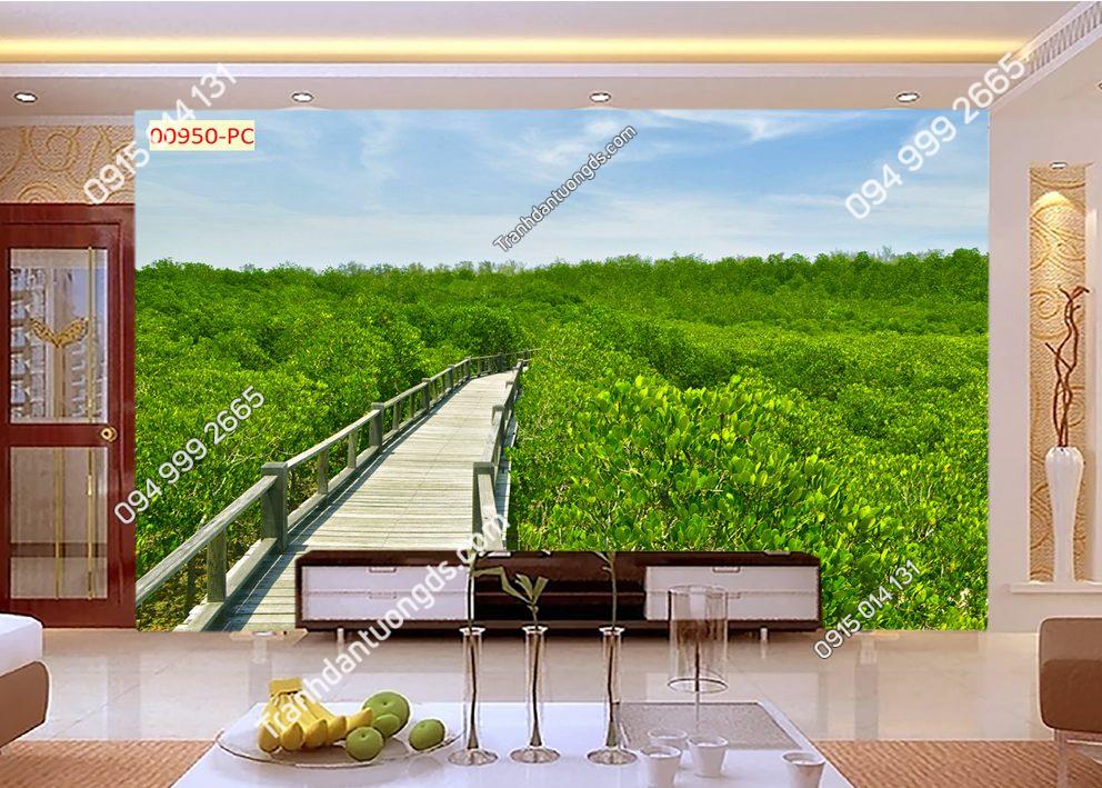 Tranh dán tường con đường qua cầu vào rừng 00950