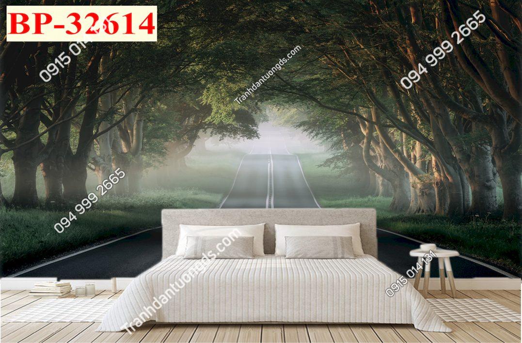 Tranh dán tường con đường sáng sớm 32614