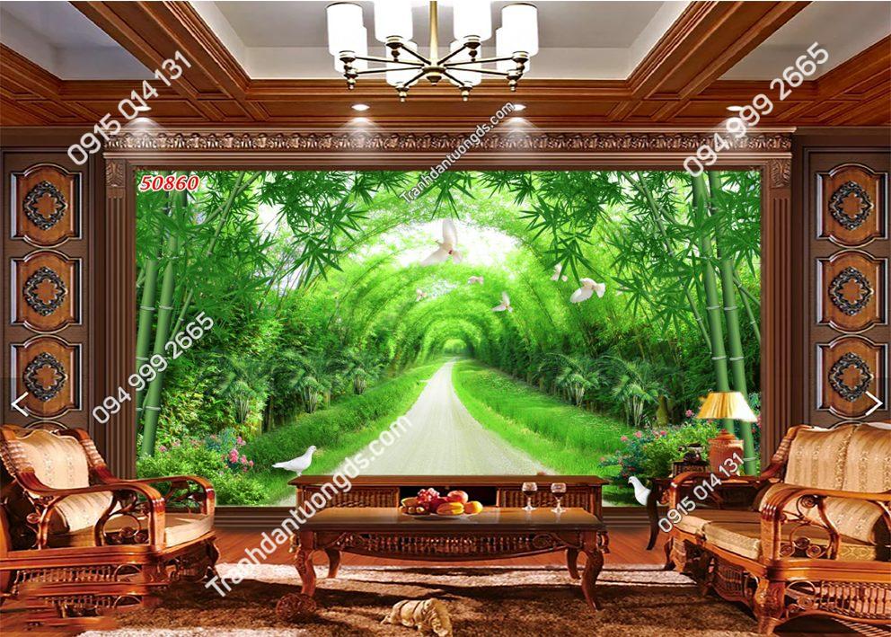 Tranh dán tường con đường tre xanh 50860