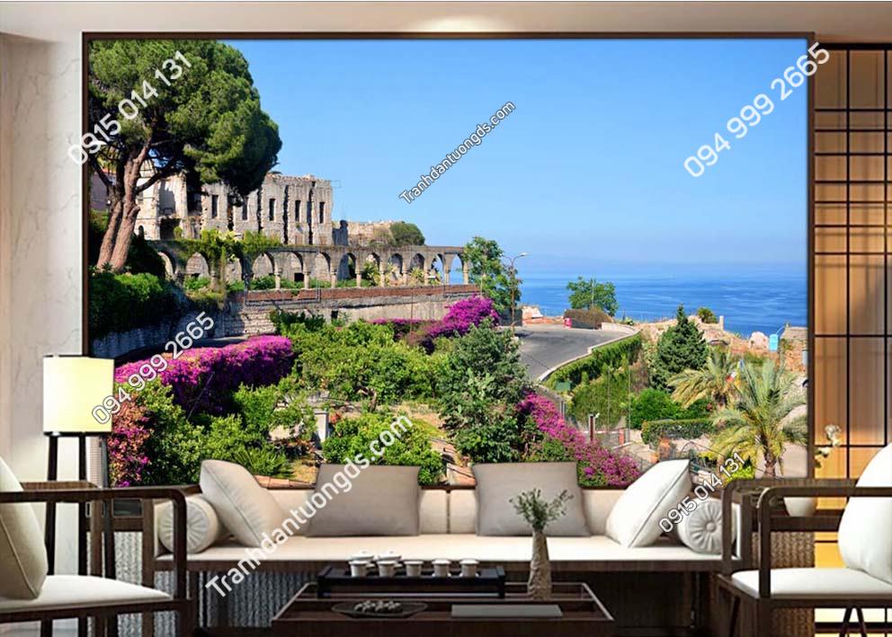 Tranh-dan-tuong-con-duong-trong-thanh-pho-ven-bien-LDM40 Taormina, Sicily