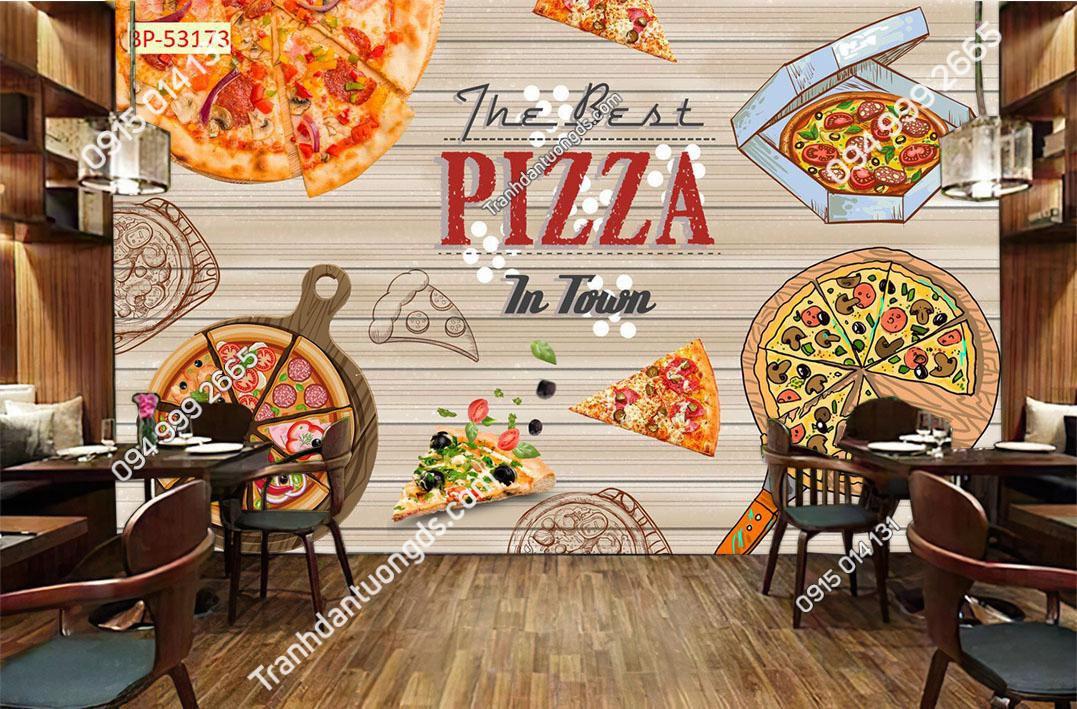 Tranh dán tường cửa hàng pizza 53173
