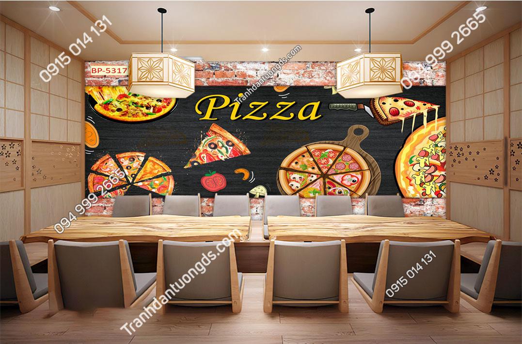 Tranh dán tường cửa hàng pizza 53177