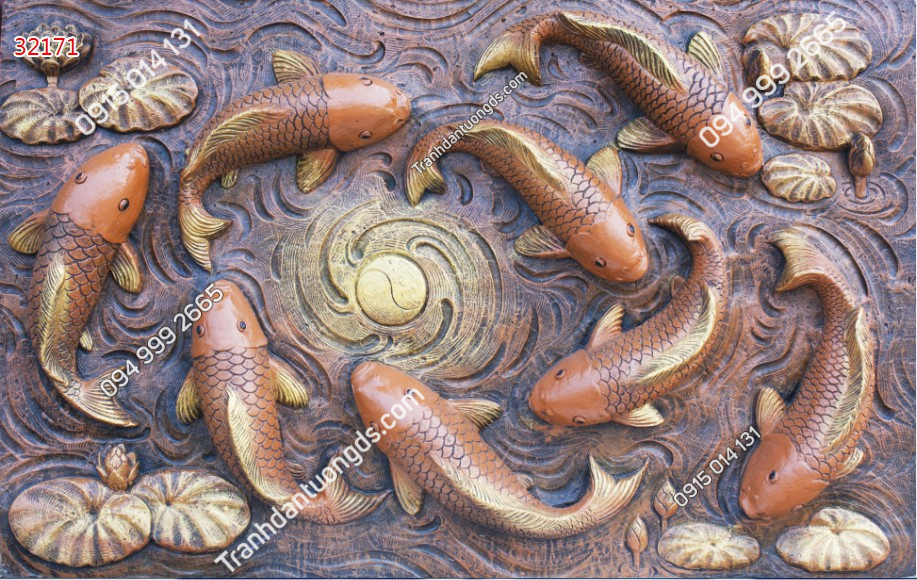 Tranh dán tường cửu ngư quần hội điêu khắc - 32171