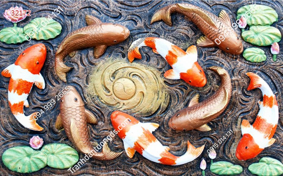 Tranh dán tường cửu ngư quần hội điêu khắc - 32172
