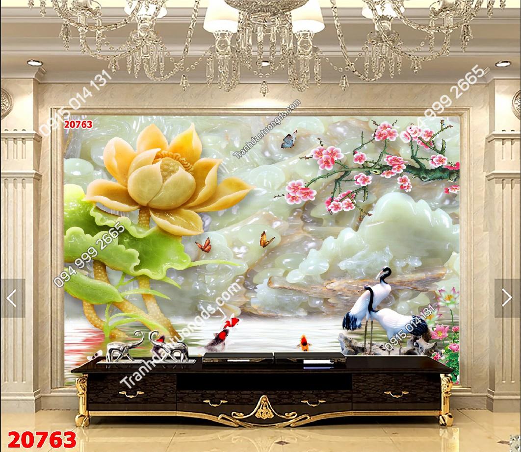 Tranh dán tường cửu ngư quần hội hoa 20763 demo