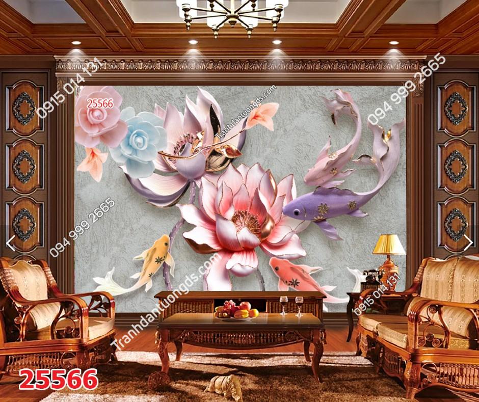 Tranh dán tường cửu ngư quần hội hoa 25566 DEMO