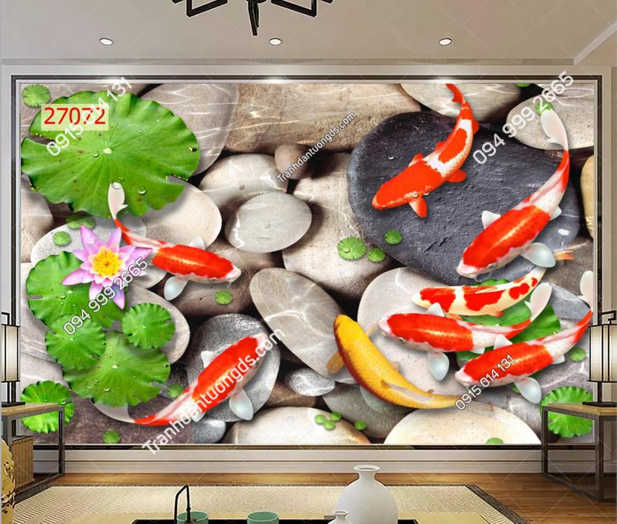 Tranh dán tường cửu ngư quần hội hoa 27072 DEMO