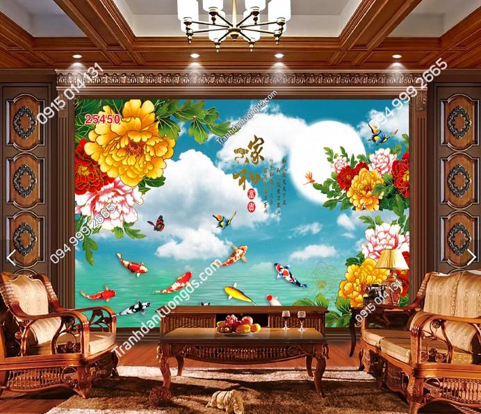 Tranh dán tường cửu ngư quần hội hoa dán phòng khách 25450 Demo