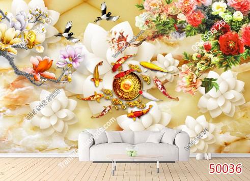 Tranh dán tường cửu ngư quần hội hoa mẫu đơn - 50036 DEMO