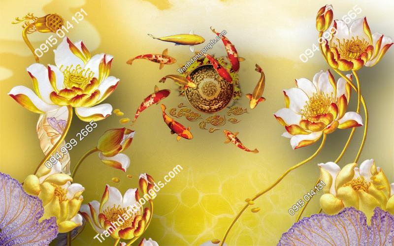 Tranh dán tường cửu ngư quần hội hoa sen - (1065)