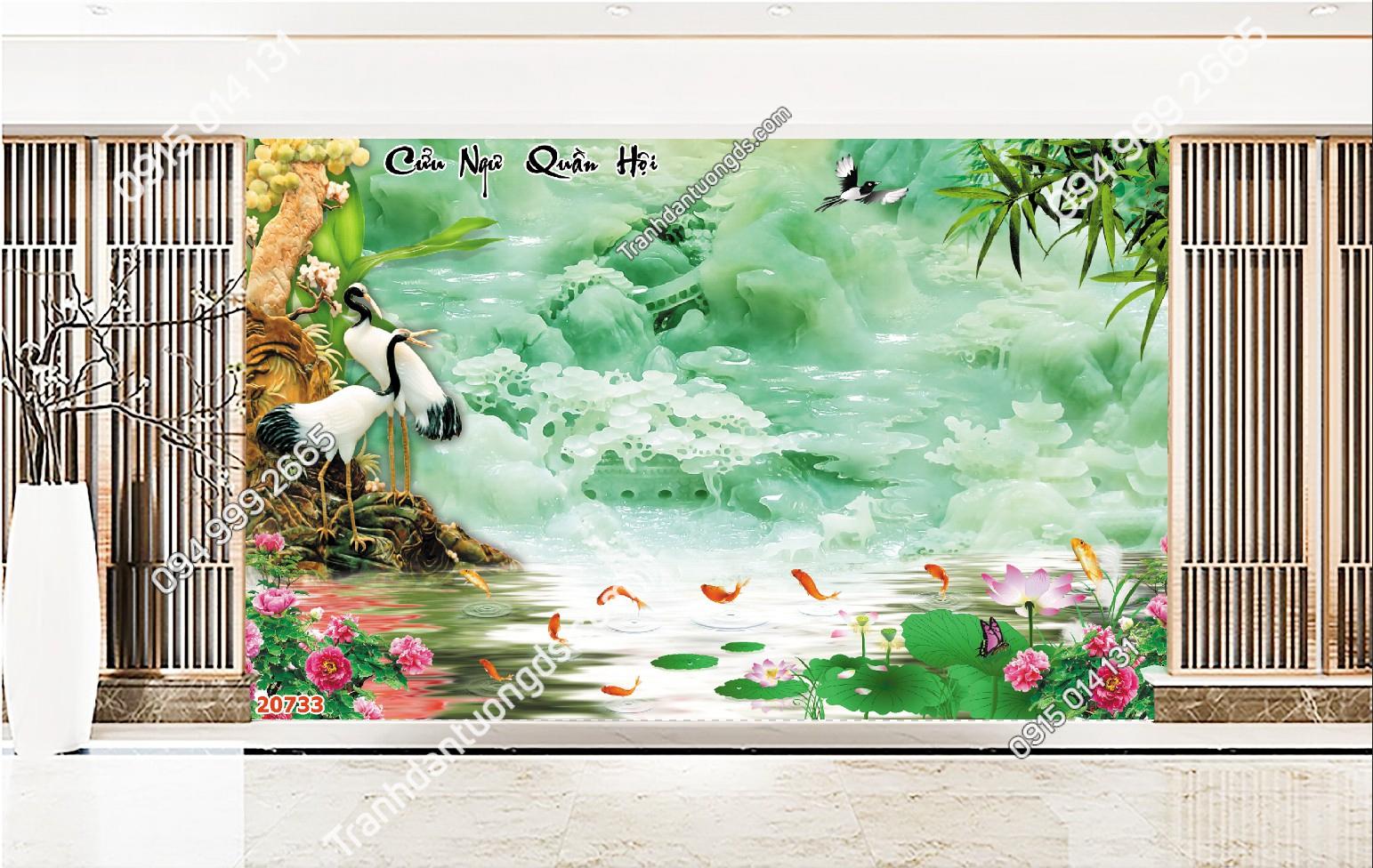 Tranh dán tường cửu ngư quần hội kết hợp ngọc thạch xanh 20733
