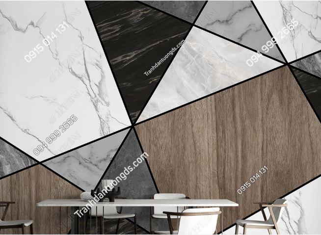 Tranh dán tường đa giác hiện đại tông nâu 23916312