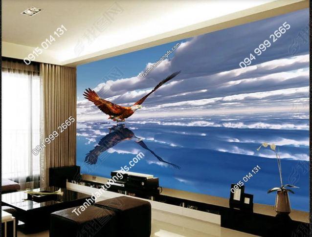 Tranh dán tường đại bàng 3D sải cánh bay DS_14658660