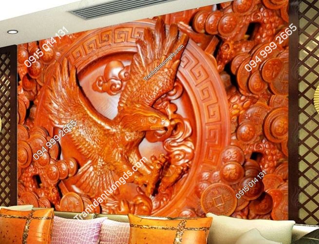 Tranh dán tường đại bàng kiểu điêu khắc gỗ 3D DS_13742433