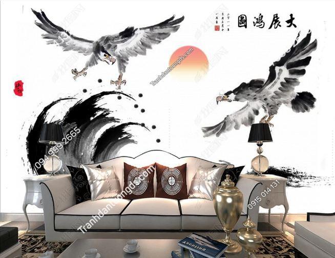 Tranh dán tường đại bàng phong cách Nhật Bản DS_16106327