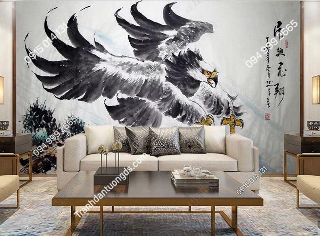 Tranh dán tường đại bàng phong cách Nhật Bản DS_18512629