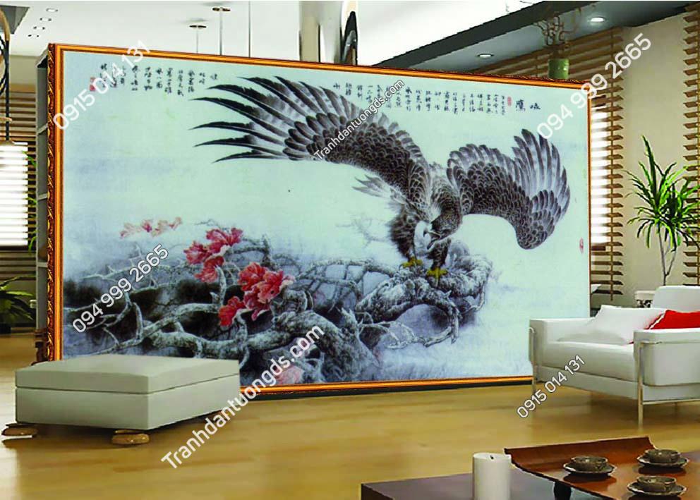 Tranh dán tường đại bàng phong cách thủy mặc DV37