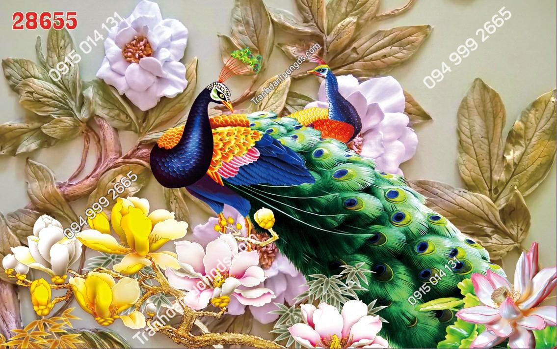 Tranh dán tường đôi chim công 3D - 28655