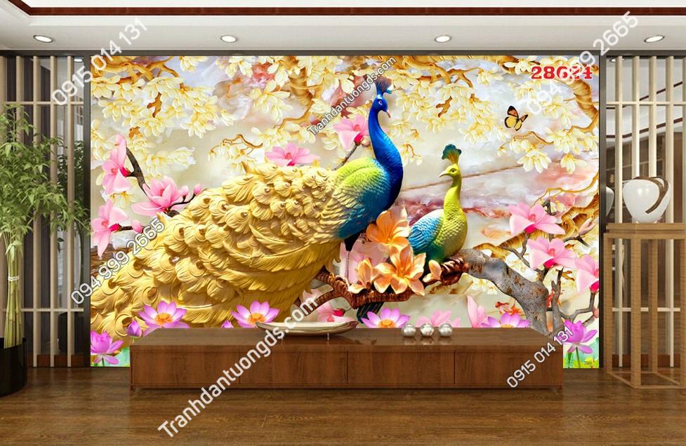 Tranh dán tường đôi chim công dán phòng khách 28624