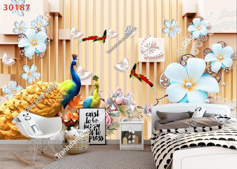 Tranh dán tường đôi chim công dán phòng ngủ 30187