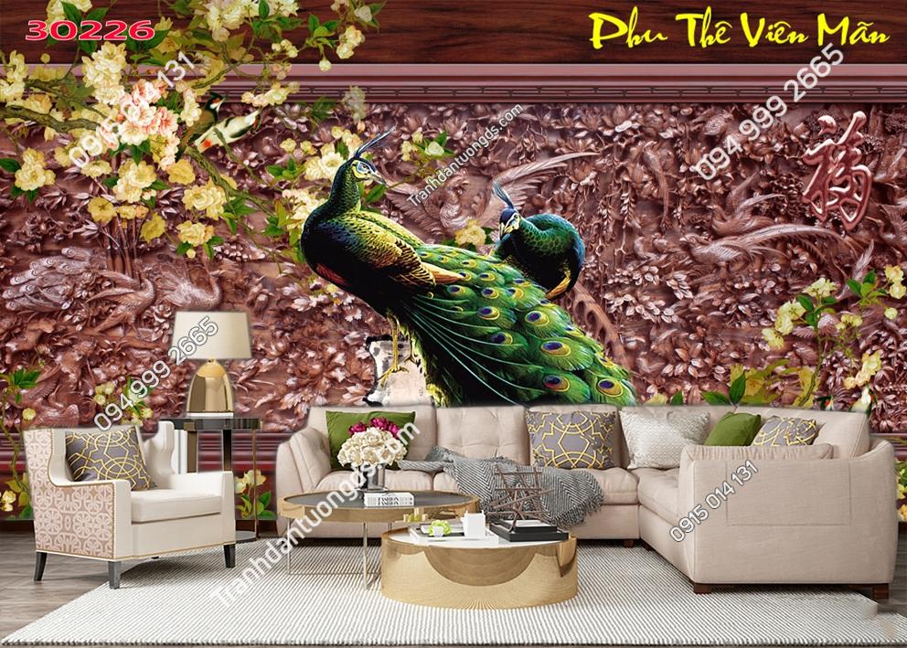 Tranh dán tường đôi chim công phu thê viên mãn 30226