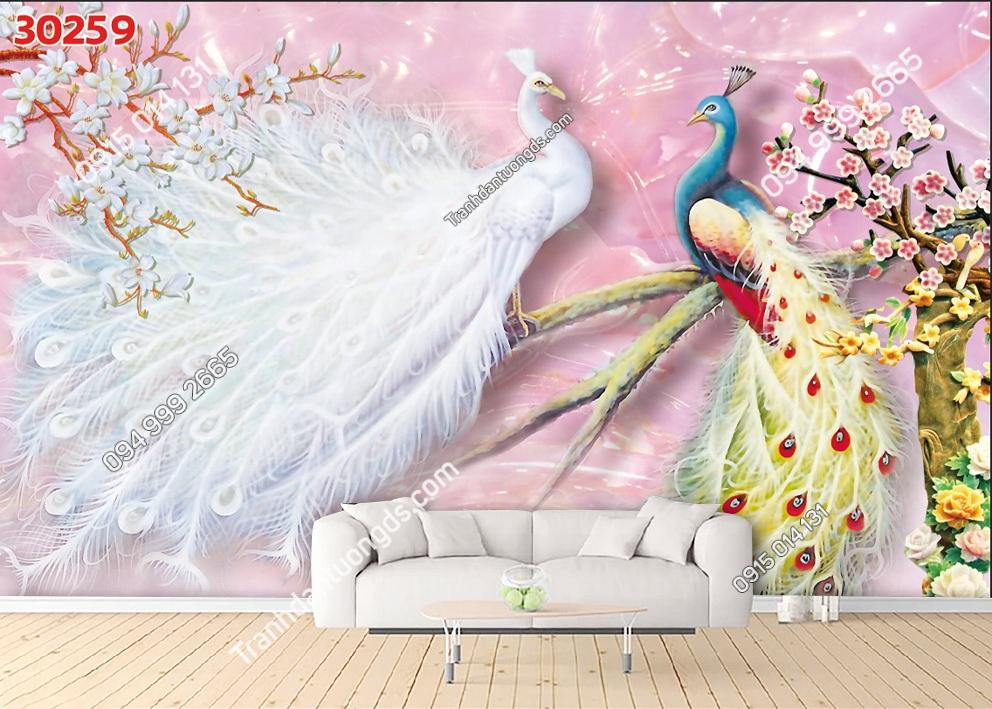 Tranh dán tường đôi chim công uyên ương 30259